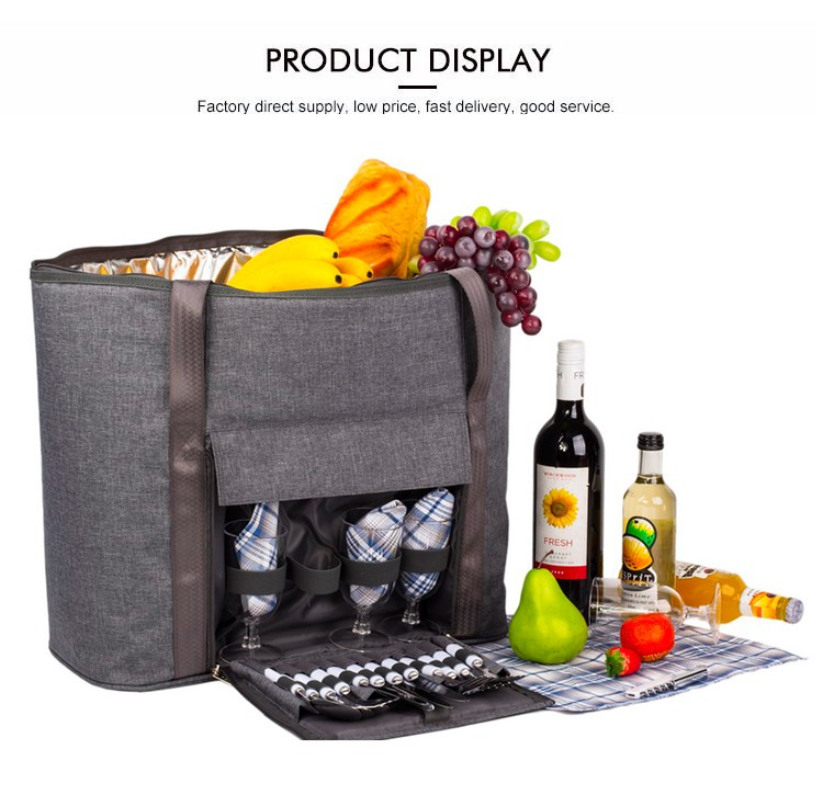4 Person Picnic Bag with cooler compartment/carrying handle