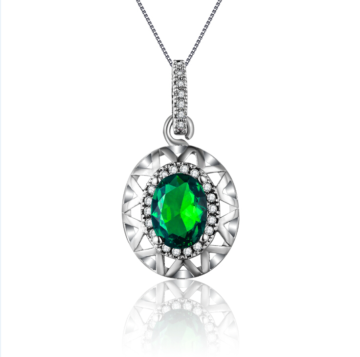 White gold plated Necklace <strong>Pendants</strong> for Women Green Emerald AAA Zircon Wedding jewelry for female MSN006