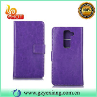 For LG G2 Wallet Case With Card Holder, Plain Leather Flip Cover For LG G2