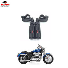 Motor parts black skull adjustable highway foot pegs for Harley motorcycle