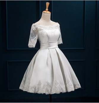 Hot sales 2015 New applique off shoulder short bridal dresses white bride dresses knee length wedding dresses