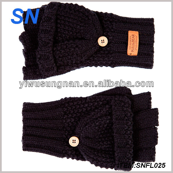 SN popular wholesale winter warm fingerless custom winter knitted mittens for adults