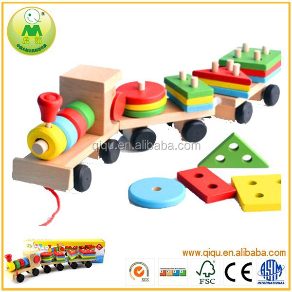 Hot Selling Building Block Kid Toy Wooden Toy Trains