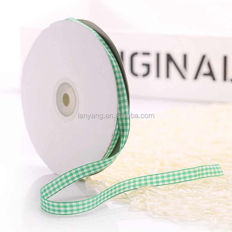 50 Yds Vintage Green Gingham Ribbon Trim Yardage Pastel Fabric Satin Ribbon Crafts Party Supplies Spring Checked Ribbon
