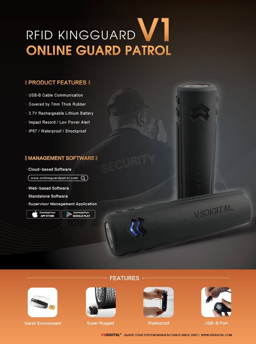 Online RFID IP68 Guard Tour Patrol System with APP Management