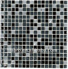 Glossy crystal mesh mounted glass mosaic mix stone