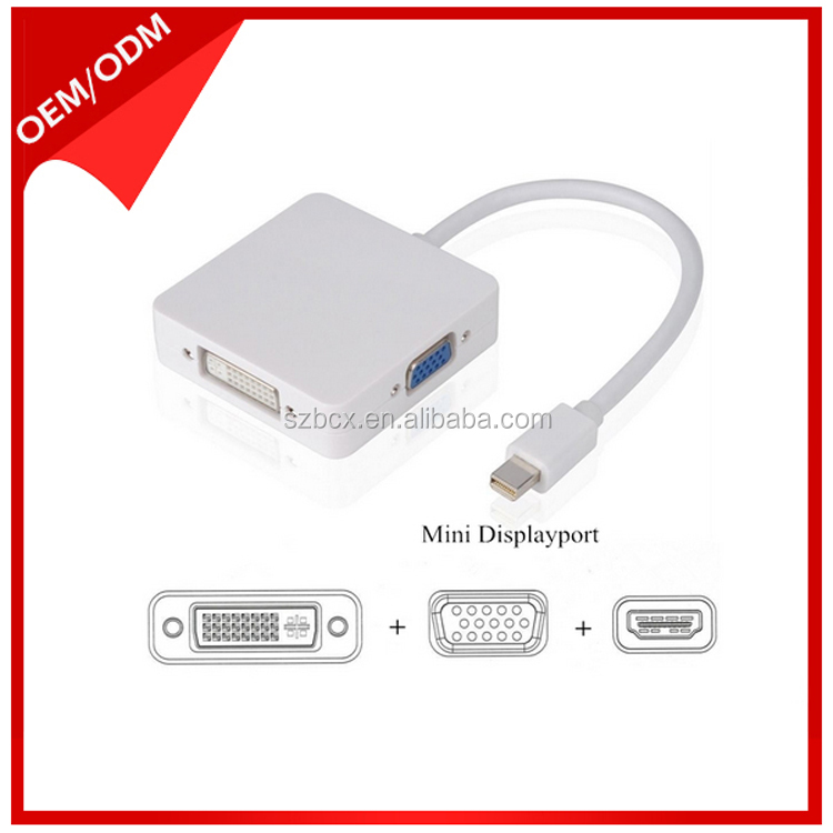 Mini DP displayport to HDMI DVI VGA 3 in 1 cable Adapter