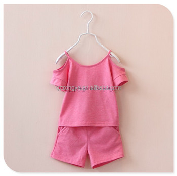2015 Korean new children's clothing girls summer children's short-sleeved suit baby girls two-piece suit