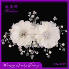 Best prices two artificial flowers silver band bridal decorative hair head comb