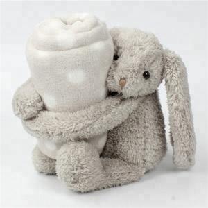 100% Cotton Polar Coral Fleece Baby Swaddle Blanket OEM Custom Cute Long Ears Kids Soft Plush Grey Bunny Rabbit Baby Blanket
