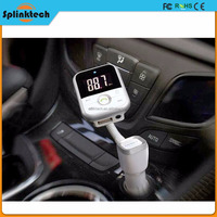 Wireless Car Vehicle White and Silver USB SD Card MP3 Cell Phone Mobile Smartphone Remote USB Charger Bluetooth FM Transmitter
