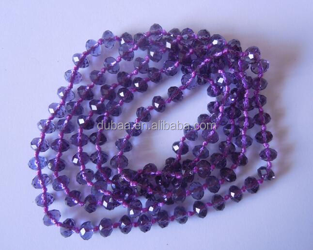 8mm Crystal Beads Long Necklaces with Knots Hand Knotted Glass Beads Wrap Bracelet Beaded Jewelry