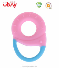 Soothing BPA free fun fruit and variety 5 pack baby silicone corner teether, bulk baby teething teether toy