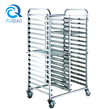 Bakery Helper Double Line Stainless Steel Kitchen Utensil Rack with Wheels
