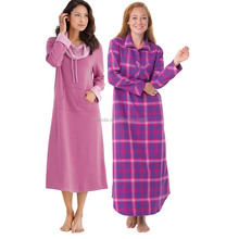 Women's Sleepwear Plaid Flannel Nighty Gift Set Soft Maxi Night Gown With Cowl-Neck And Kangaroo Pocket Design