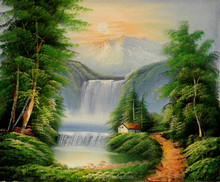 Remarkable artwork handmade landscape oil painting,waterful painting