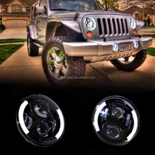 "Headlight 7"" Inch LED Hi/Lo Beam Halo Ring Angel Eyes DRL for Offroad Jeeps Wrangler 2009-2015 Hummer Harley"