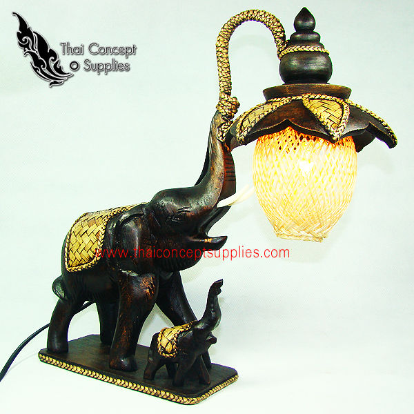 Table Lamps : One Small And One Big Elephant Wood Craft Models No.2 - Thai Vintage Wood Carving Table Lamps For Home Decor
