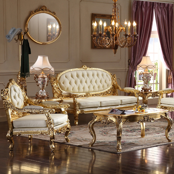 Foshan China High Quality Home Furniture Living Room Furniture Sets Luxurious wooden sofa set