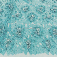 high quality applique 3d flower french lace beaded african tulle lace with beautiful beads pearl