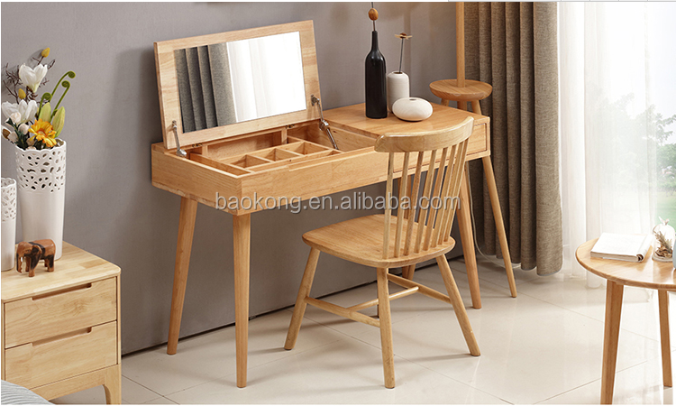 Modern Solid Wood Dresser With Hideaway Jewellery Box And Mirror