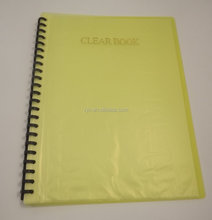 transparent pp/pvc plastic office stationary 20 pocket spiral clear display book