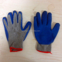 cotton latex coated safety glove rubber grip palm glove