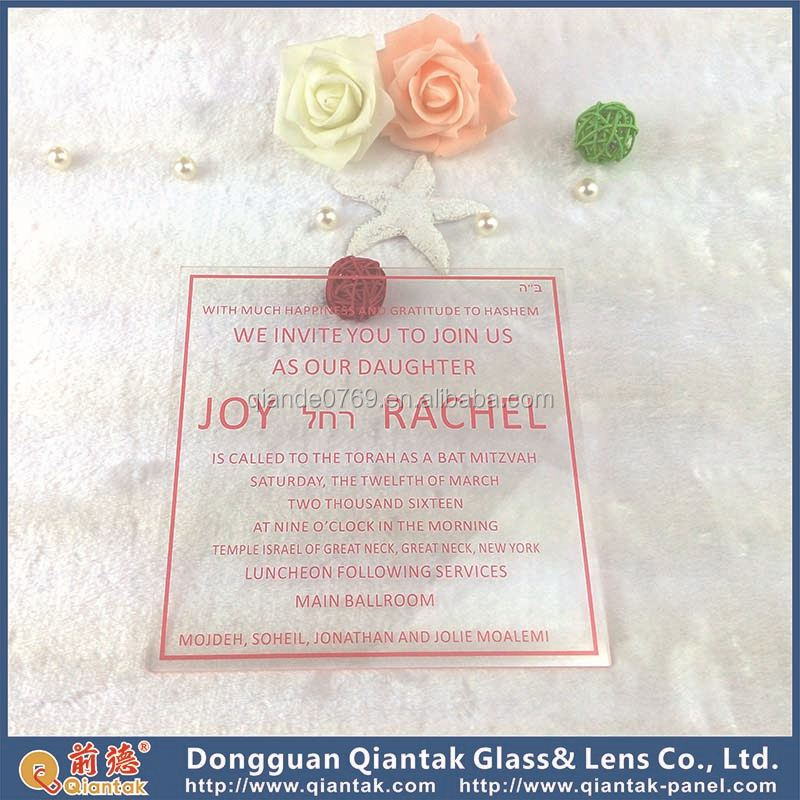Wholesale Blank Acrylic Wedding Invitation For Party Supplies