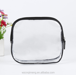 Clear pvc transparent waterproof cosmetic make up bag with zipper