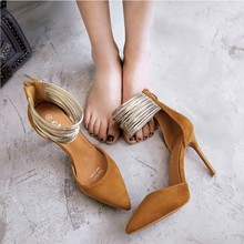 Simple fashion sexy women's high heels, metallic bandaged suede heels