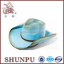 fashion summer beach western America dip-dyed cowboy straw hat