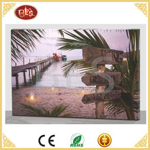 seaside scenery led canvas painting new design, art wall canvas painting