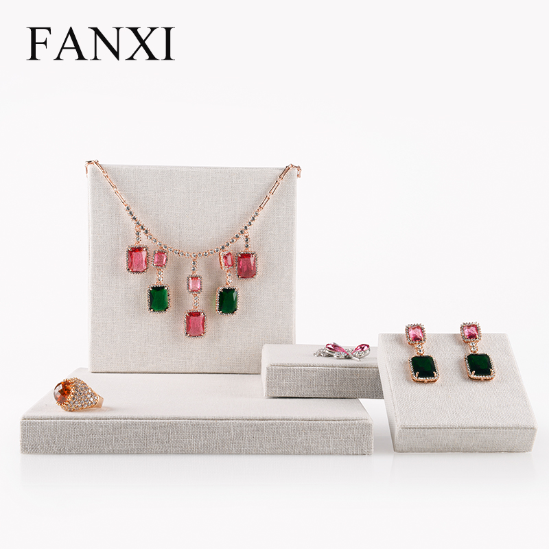 FANXI China Wholesale Square Necklace Earrings Holder Props Set Countertop Linen Jewelry Display