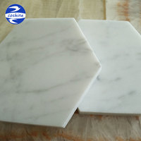 Polished white carrara marble coasters hexagon tiles