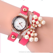 sale promotion New arrival women's butterfly accessories quartz bracelet watch with rhinestone pearl wrist vogue lady watch