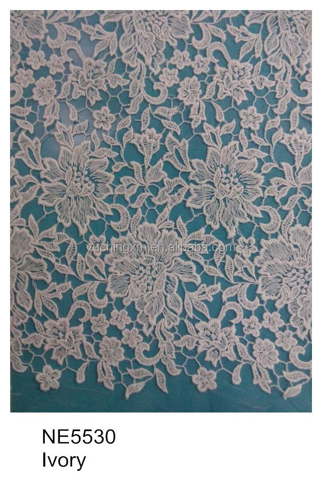 Lace product type and ivory color velvet embroidery mesh lace fabric