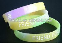 factory directly wholesale cheap custom multi-colour Silicon Wristband with glow in dark