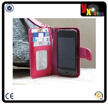 iPhone6/ Megnetic and ID window Pink leather cellPhone wallet/ wristlet strap/wallpapers