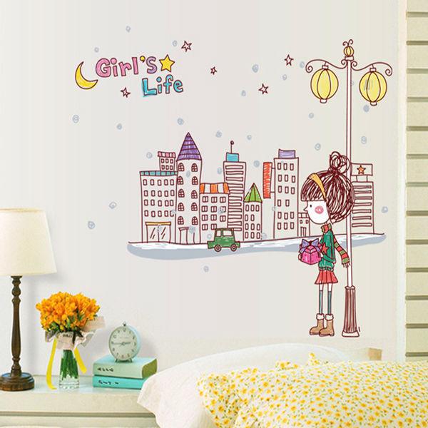 Girls bedroom bedside glass kindergarten children's room wall stickers AY7123 creative home decoration under the lights