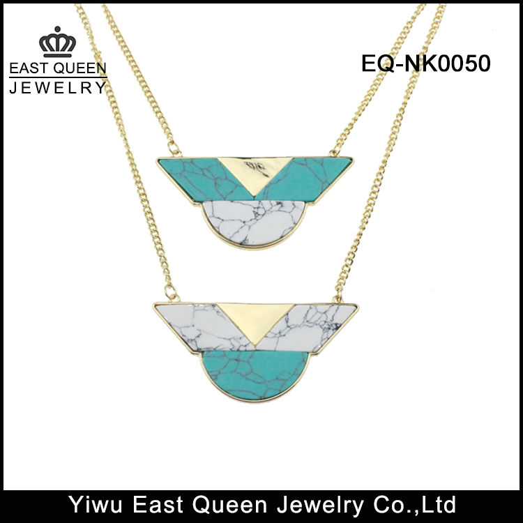 Fashion Women's Gold Plated Colorful Turquoise Pendant Necklace Wholesale