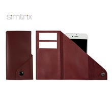 soft leather multifunctional customized mobile phone case for Iphone 7 - three folded phone pouch