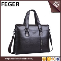 fashion business men bag leather laptop bag brown male briefcase bag