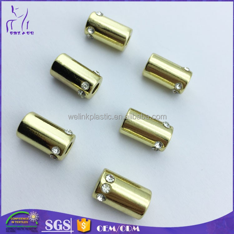 Lead Free Metal Drawstring Lock Cord Gold Color Stoppers For Swimwear