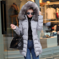 2016 New Fashion Women Sexy Large Natural Fur Collar Parka / Women Winter Coat