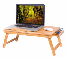 Wholesale Bamboo Laptop Bed Tray (Natural)| Multi-Position Adjustable Surface | Pull Down Legs | Storage Drawer
