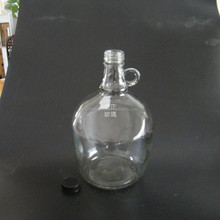 Wholesale wine glass bottle with cap 3L glass bottle with small handle