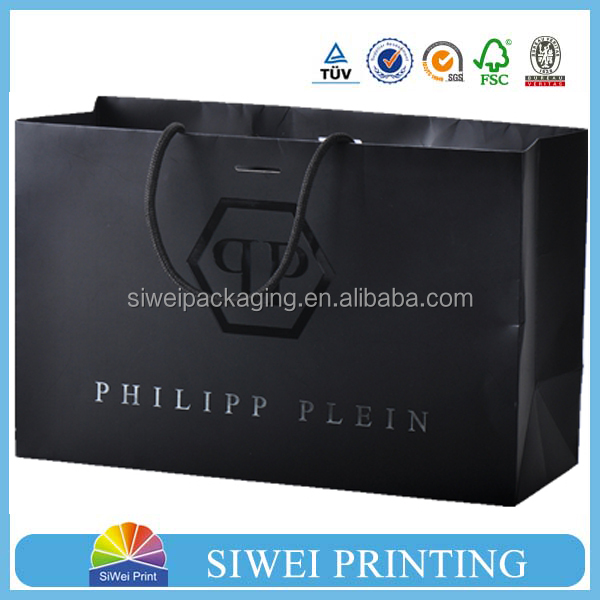 2015 Custom Logo Printed paper black UV spot shopping bag with silver card for packaging