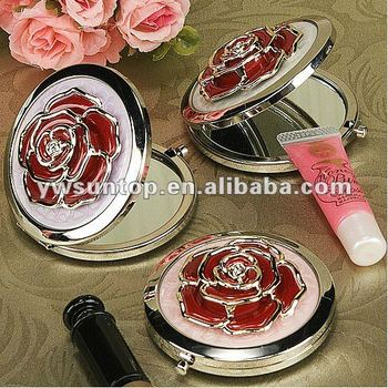 Red Rose Design Compact Mirror Favors