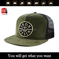 Guangjia Cap Manufacturer Wholesale Custom Corduroy 5 Panel 3D Embroidery Patch Mesh Trucker Cap and Hat