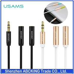 USAMS 3.5mm Jack Y Extension Car Audio AUX Cable Adapter For Mp3 CellPhone Headphone 1 Male To 2 Female Splitter Adapter